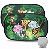 Parasol Coche Infantil,TBoonor Parasol Bebe Coche,con Protección UV ,para Proteger del Sol a bebés y Mascotas,Parasoles Autoadhesivos,Vida Salvaje 51*31cm(verde-2pack)